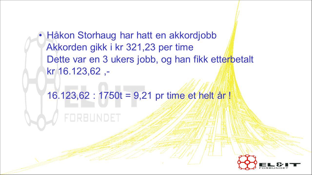 Håkon Storhaug har hatt en akkordjobb Akkorden gikk i kr 321,23 per time Dette var en 3 ukers jobb, og han fikk etterbetalt kr 16.123,62,- 16.123,62 :