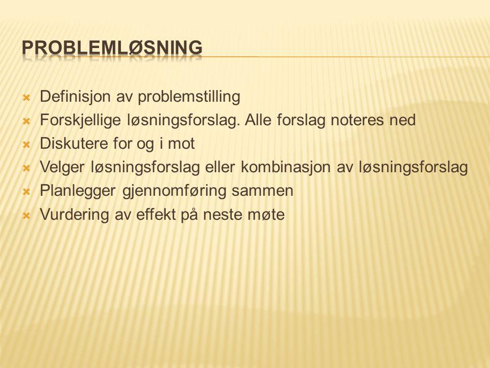  Definisjon av problemstilling  Forskjellige løsningsforslag.