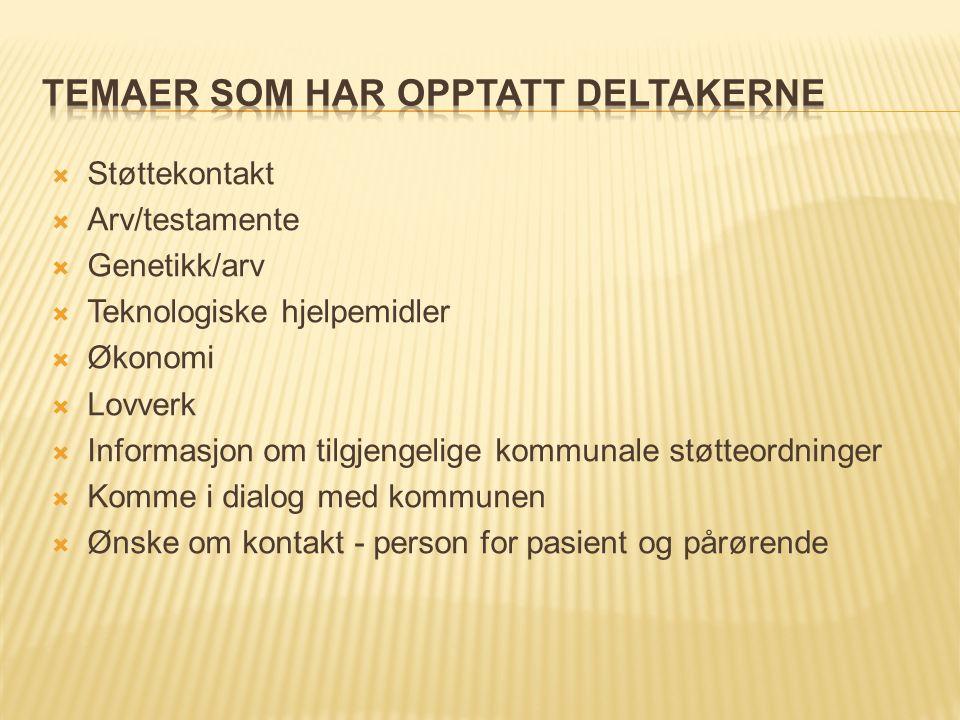  Støttekontakt  Arv/testamente  Genetikk/arv  Teknologiske hjelpemidler  Økonomi  Lovverk  Informasjon om tilgjengelige kommunale støtteordning