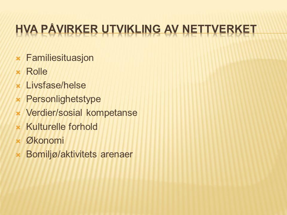  Familiesituasjon  Rolle  Livsfase/helse  Personlighetstype  Verdier/sosial kompetanse  Kulturelle forhold  Økonomi  Bomiljø/aktivitets arenaer