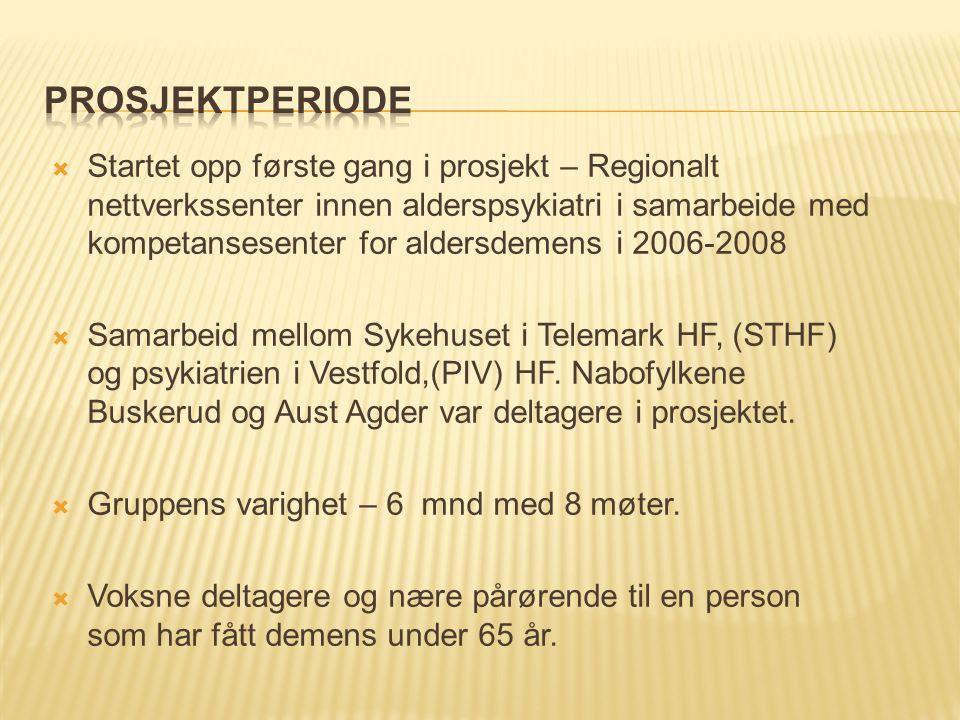  Startet opp første gang i prosjekt – Regionalt nettverkssenter innen alderspsykiatri i samarbeide med kompetansesenter for aldersdemens i 2006-2008  Samarbeid mellom Sykehuset i Telemark HF, (STHF) og psykiatrien i Vestfold,(PIV) HF.