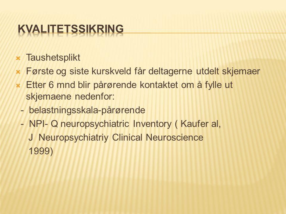  Taushetsplikt  Første og siste kurskveld får deltagerne utdelt skjemaer  Etter 6 mnd blir pårørende kontaktet om å fylle ut skjemaene nedenfor: - belastningsskala-pårørende - NPI- Q neuropsychiatric Inventory ( Kaufer al, J Neuropsychiatriy Clinical Neuroscience 1999)