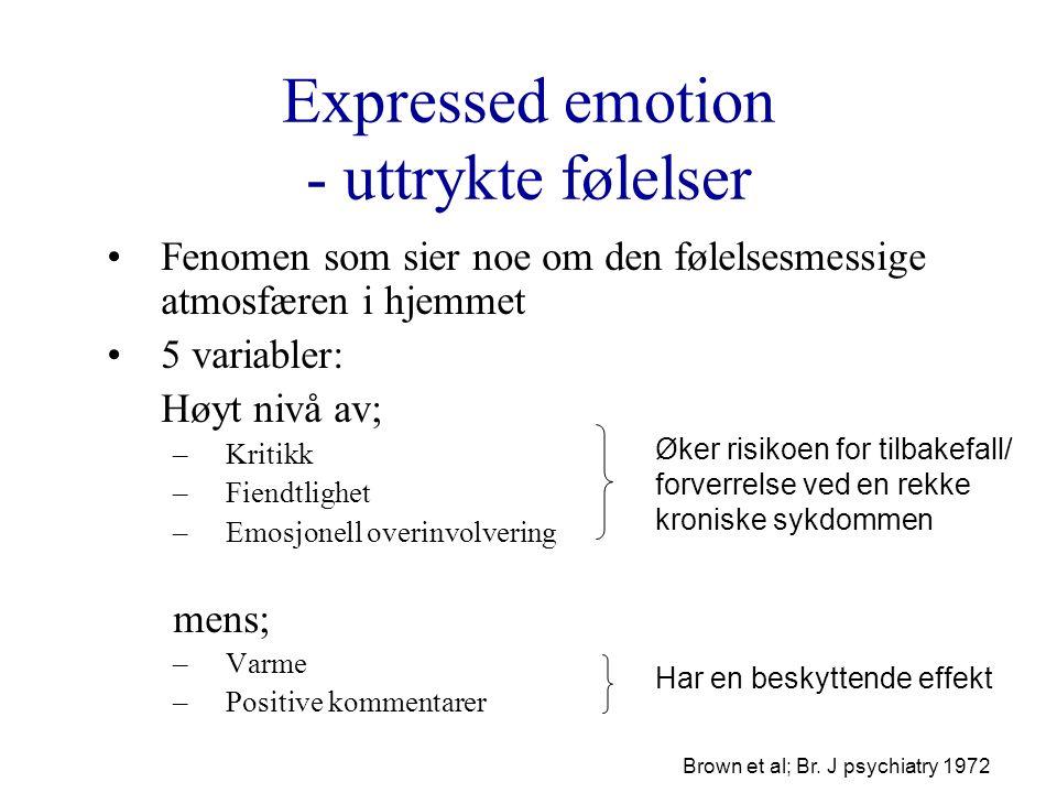 Expressed emotion - uttrykte følelser Fenomen som sier noe om den følelsesmessige atmosfæren i hjemmet 5 variabler: Høyt nivå av; –Kritikk –Fiendtlighet –Emosjonell overinvolvering mens; –Varme –Positive kommentarer Øker risikoen for tilbakefall/ forverrelse ved en rekke kroniske sykdommen Har en beskyttende effekt Brown et al; Br.