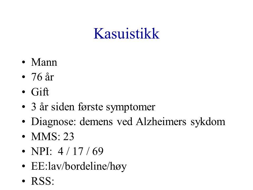 Kasuistikk Mann 76 år Gift 3 år siden første symptomer Diagnose: demens ved Alzheimers sykdom MMS: 23 NPI: 4 / 17 / 69 EE:lav/bordeline/høy RSS: