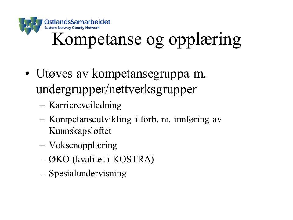 Kompetanse og opplæring Utøves av kompetansegruppa m.