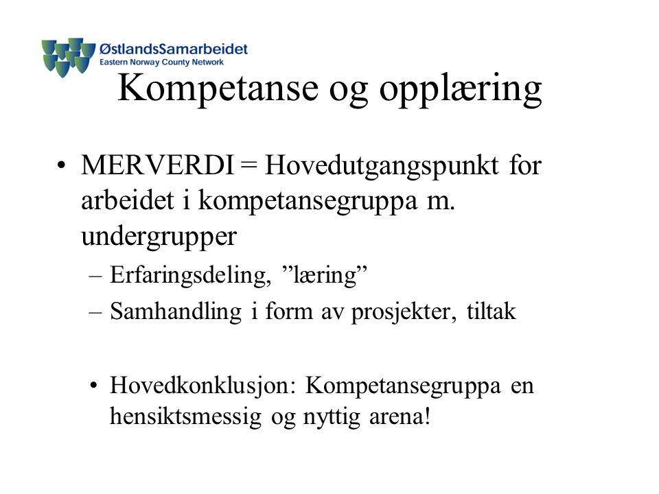 Kompetanse og opplæring MERVERDI = Hovedutgangspunkt for arbeidet i kompetansegruppa m.