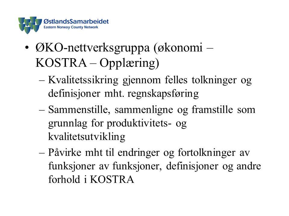 ØKO-nettverksgruppa (økonomi – KOSTRA – Opplæring) –Kvalitetssikring gjennom felles tolkninger og definisjoner mht.