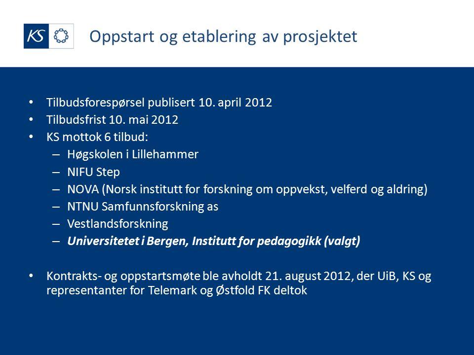 Oppstart og etablering av prosjektet Tilbudsforespørsel publisert 10.