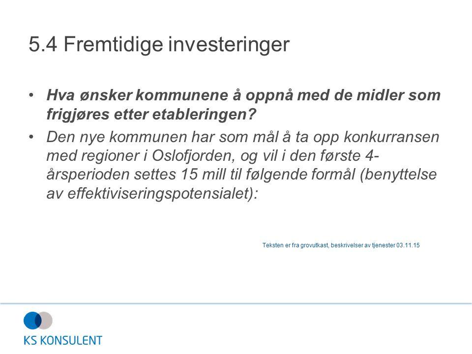 5.4 Fremtidige investeringer Hva ønsker kommunene å oppnå med de midler som frigjøres etter etableringen? Den nye kommunen har som mål å ta opp konkur