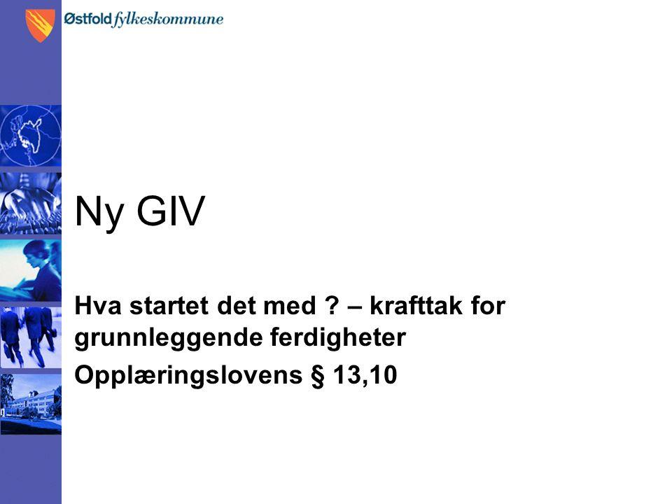 Ny GIV Hva startet det med ? – krafttak for grunnleggende ferdigheter Opplæringslovens § 13,10