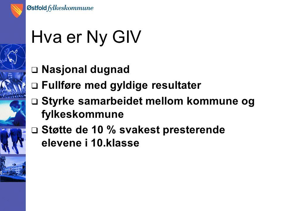 Hva er Ny GIV  Nasjonal dugnad  Fullføre med gyldige resultater  Styrke samarbeidet mellom kommune og fylkeskommune  Støtte de 10 % svakest presterende elevene i 10.klasse