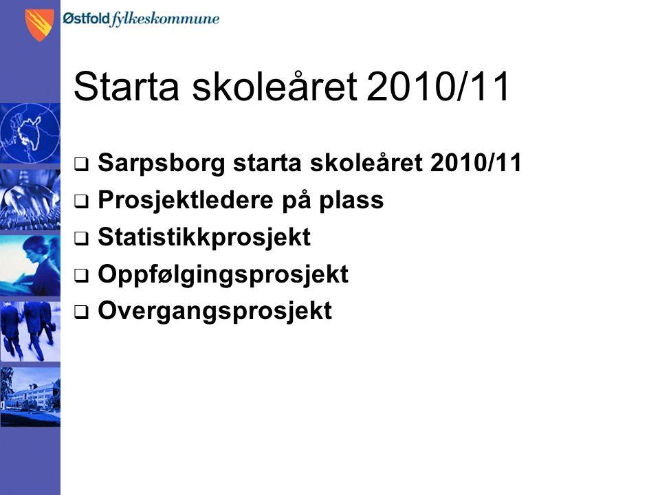 Starta skoleåret 2010/11  Sarpsborg starta skoleåret 2010/11  Prosjektledere på plass  Statistikkprosjekt  Oppfølgingsprosjekt  Overgangsprosjekt