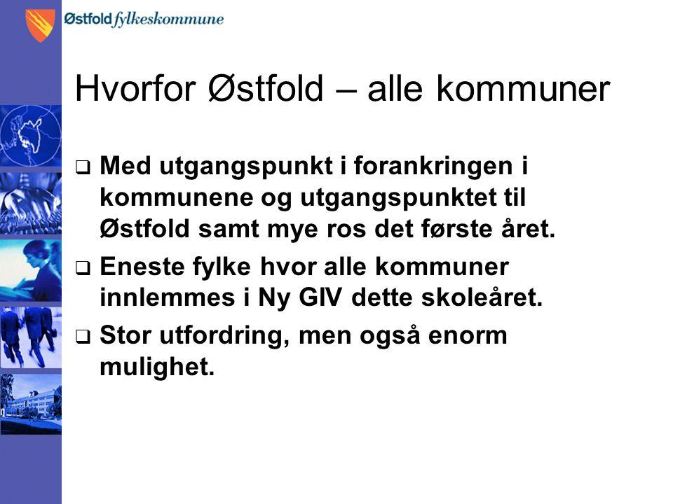 Hvorfor Østfold – alle kommuner  Med utgangspunkt i forankringen i kommunene og utgangspunktet til Østfold samt mye ros det første året.
