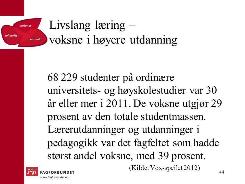 Livslang læring – voksne i høyere utdanning 68 229 studenter på ordinære universitets- og høyskolestudier var 30 år eller mer i 2011.
