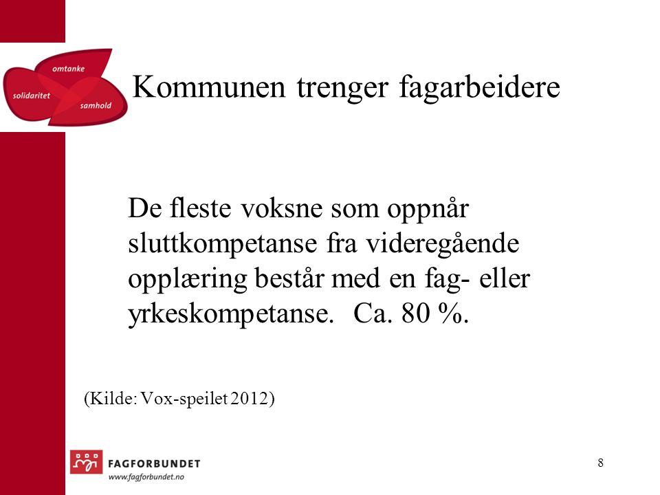 Rekruttering av fagarbeidere Fagarbeidere rekrutteres altså ikke minst blant de voksne: I 2011 var det 19 861 voksne i videregående opplæring.