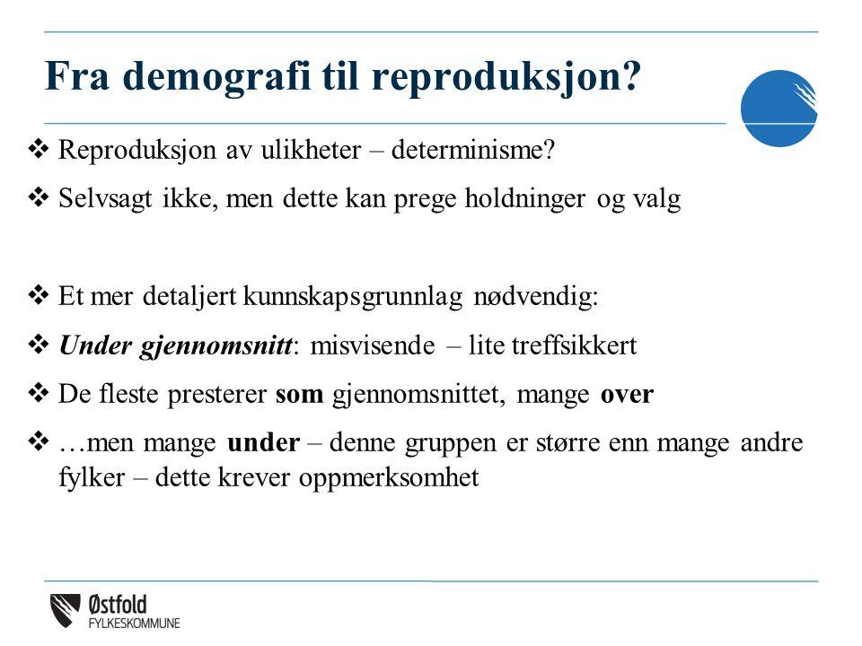 Fra demografi til reproduksjon?  Reproduksjon av ulikheter – determinisme?  Selvsagt ikke, men dette kan prege holdninger og valg  Et mer detaljert