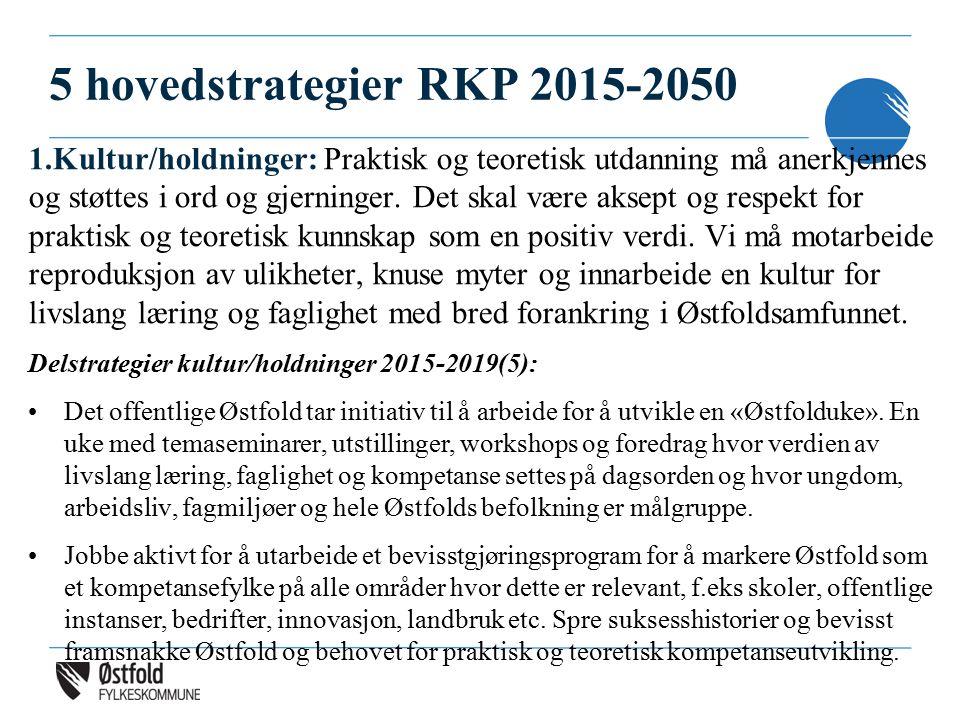 5 hovedstrategier RKP 2015-2050 1.Kultur/holdninger: Praktisk og teoretisk utdanning må anerkjennes og støttes i ord og gjerninger. Det skal være akse