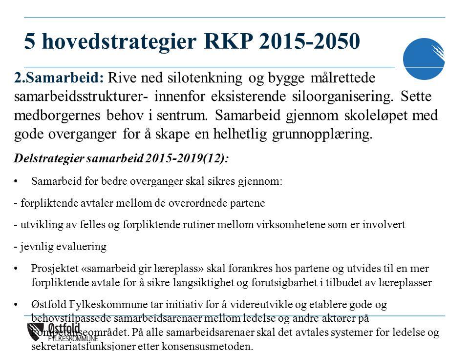5 hovedstrategier RKP 2015-2050 2.Samarbeid: Rive ned silotenkning og bygge målrettede samarbeidsstrukturer- innenfor eksisterende siloorganisering.