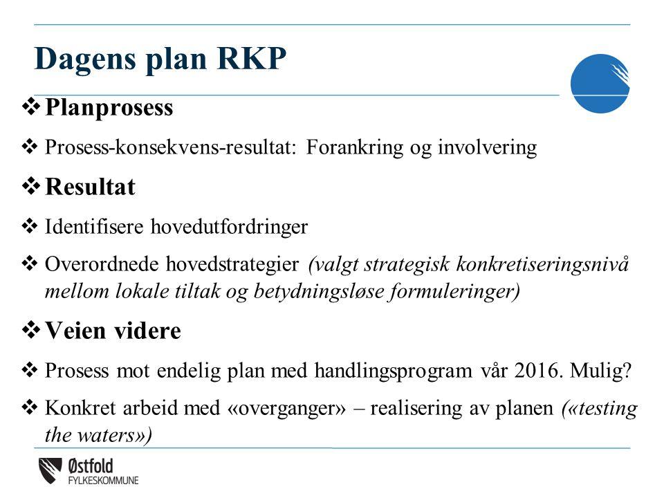 Dagens plan RKP  Planprosess  Prosess-konsekvens-resultat: Forankring og involvering  Resultat  Identifisere hovedutfordringer  Overordnede hovedstrategier (valgt strategisk konkretiseringsnivå mellom lokale tiltak og betydningsløse formuleringer)  Veien videre  Prosess mot endelig plan med handlingsprogram vår 2016.