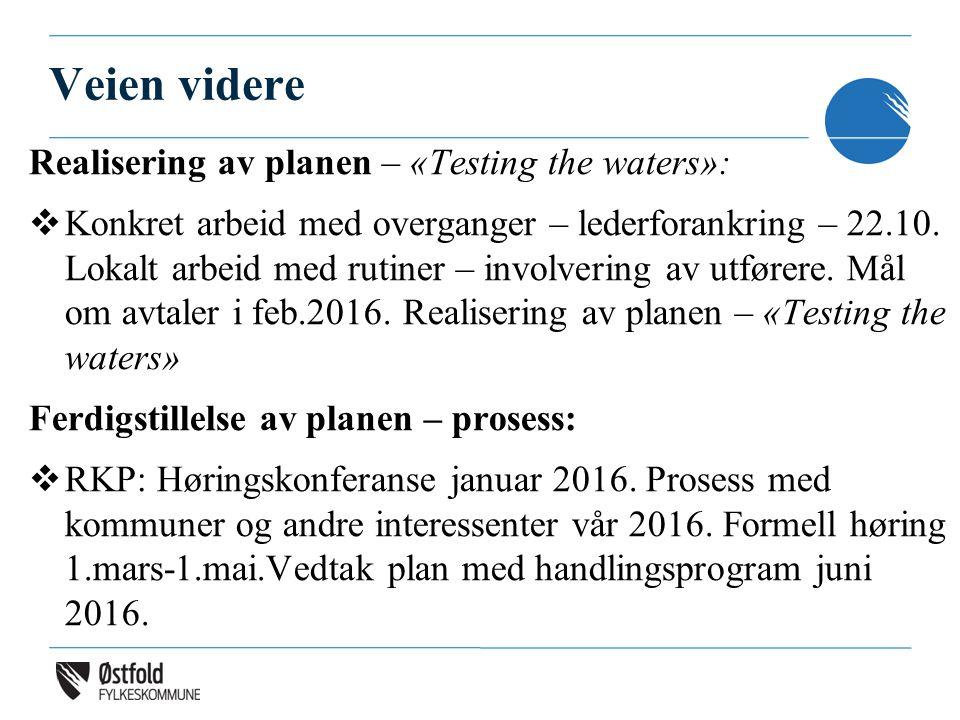 Veien videre Realisering av planen – «Testing the waters»:  Konkret arbeid med overganger – lederforankring – 22.10. Lokalt arbeid med rutiner – invo