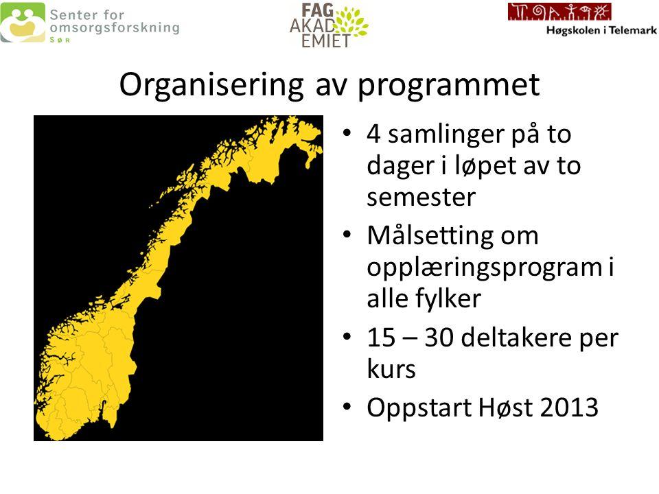 Organisering av programmet 4 samlinger på to dager i løpet av to semester Målsetting om opplæringsprogram i alle fylker 15 – 30 deltakere per kurs Oppstart Høst 2013