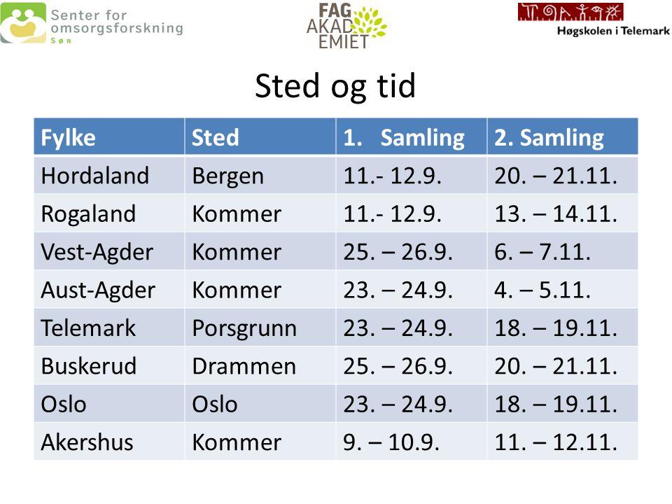 Sted og tid FylkeSted1.Samling2. Samling HordalandBergen11.- 12.9.20.