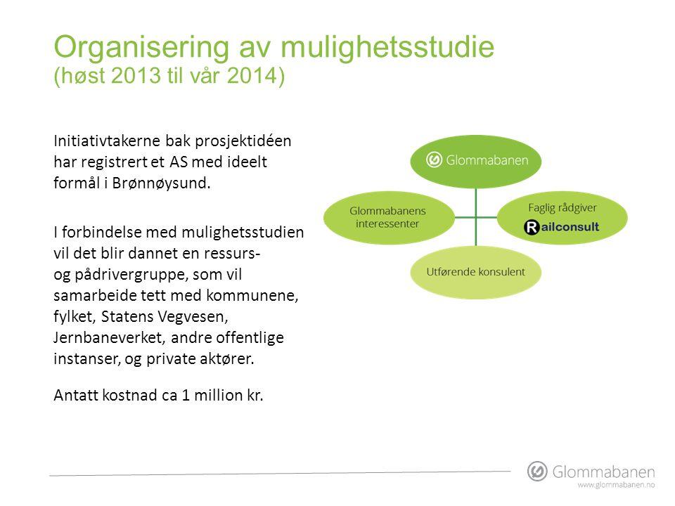 Organisering av mulighetsstudie (høst 2013 til vår 2014) Initiativtakerne bak prosjektidéen har registrert et AS med ideelt formål i Brønnøysund. I fo