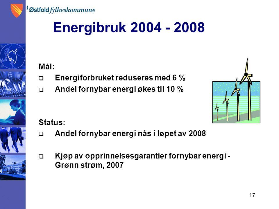 17 En Energibruk 2004 - 2008 2004 – 20M08 Mål:  Energiforbruket reduseres med 6 %  Andel fornybar energi økes til 10 % Status:  Andel fornybar energi nås i løpet av 2008  Kjøp av opprinnelsesgarantier fornybar energi - Grønn strøm, 2007