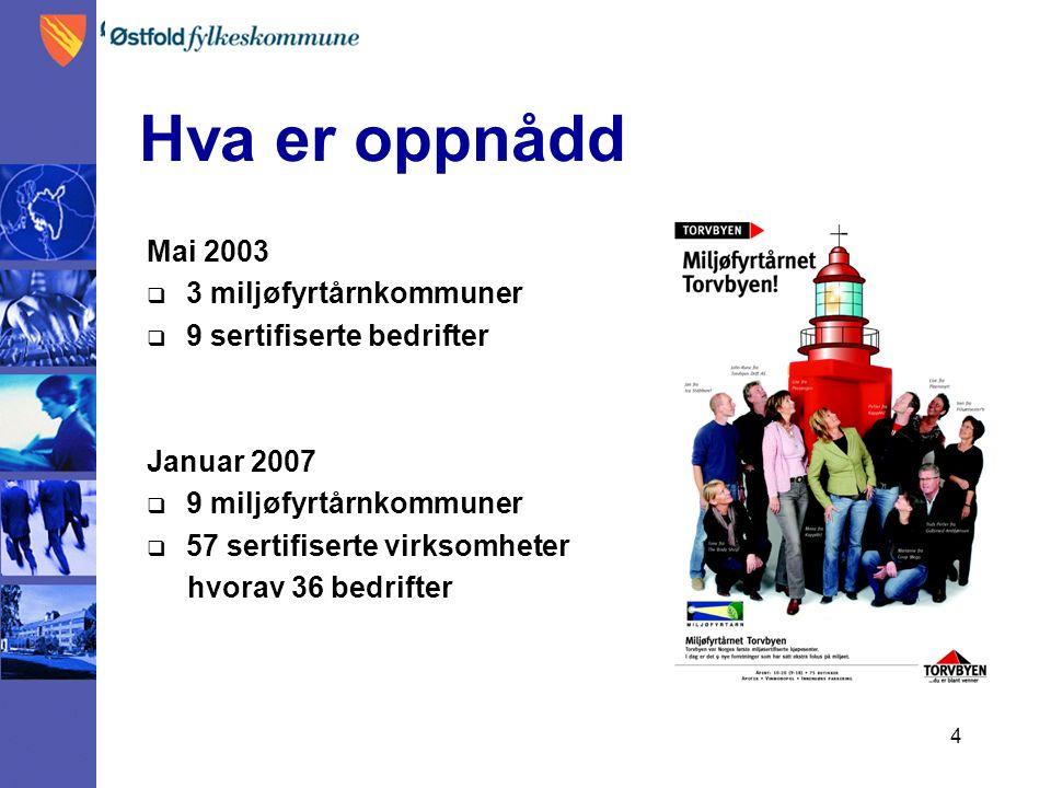 4 Hva er oppnådd Mai 2003  3 miljøfyrtårnkommuner  9 sertifiserte bedrifter Januar 2007  9 miljøfyrtårnkommuner  57 sertifiserte virksomheter hvorav 36 bedrifter
