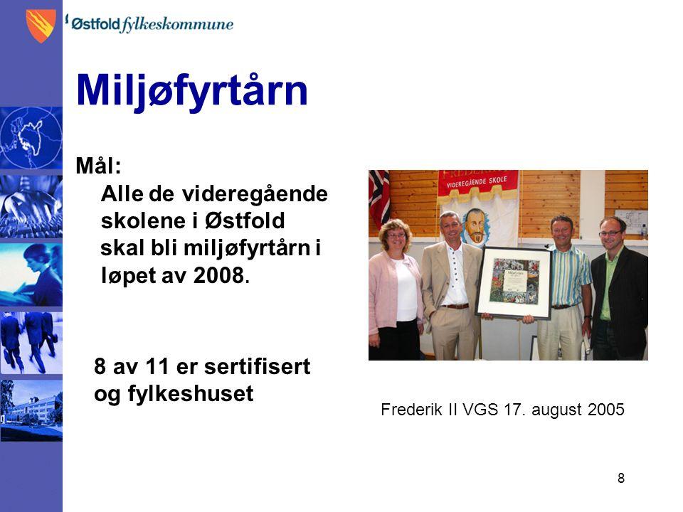 8 Miljøfyrtårn Mål: Alle de videregående skolene i Østfold skal bli miljøfyrtårn i løpet av 2008.
