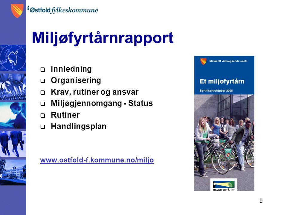 9 Miljøfyrtårnrapport  Innledning  Organisering  Krav, rutiner og ansvar  Miljøgjennomgang - Status  Rutiner  Handlingsplan www.ostfold-f.kommune.no/miljo
