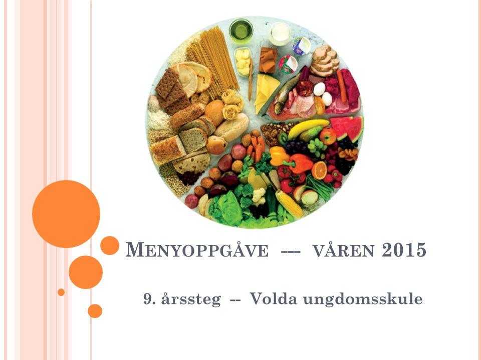 M ENYOPPGÅVE --- VÅREN 2015 9. årssteg -- Volda ungdomsskule