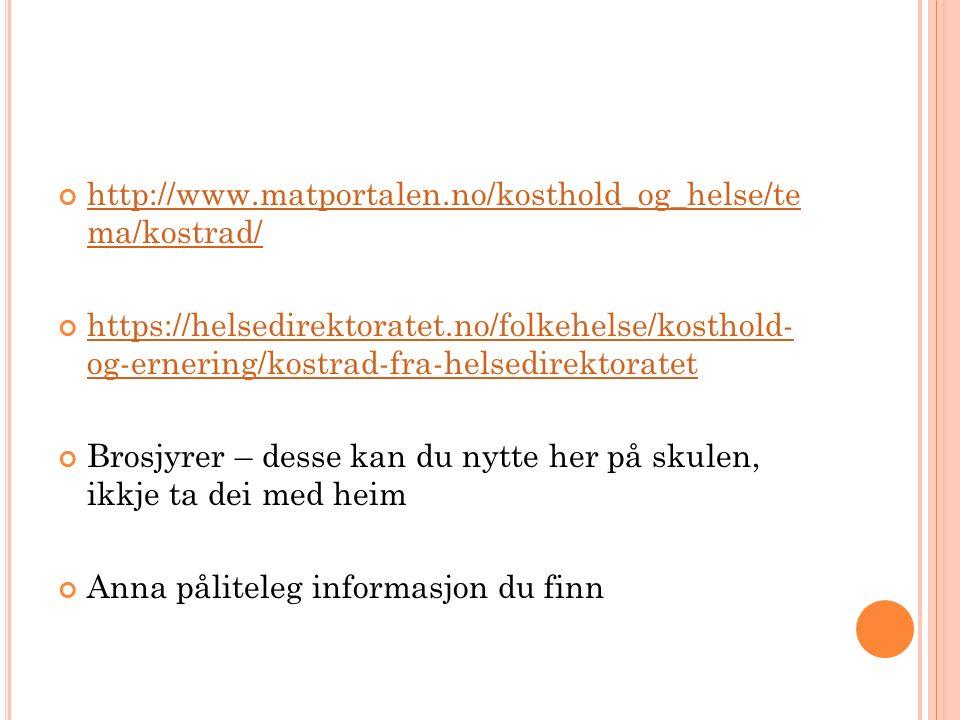 http://www.matportalen.no/kosthold_og_helse/te ma/kostrad/ https://helsedirektoratet.no/folkehelse/kosthold- og-ernering/kostrad-fra-helsedirektoratet