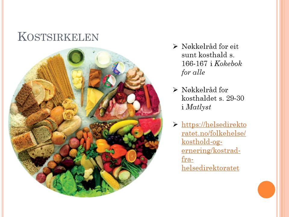 N ÆRINGSSTOFF Tabell s.28 i Matlyst God oversikt s.