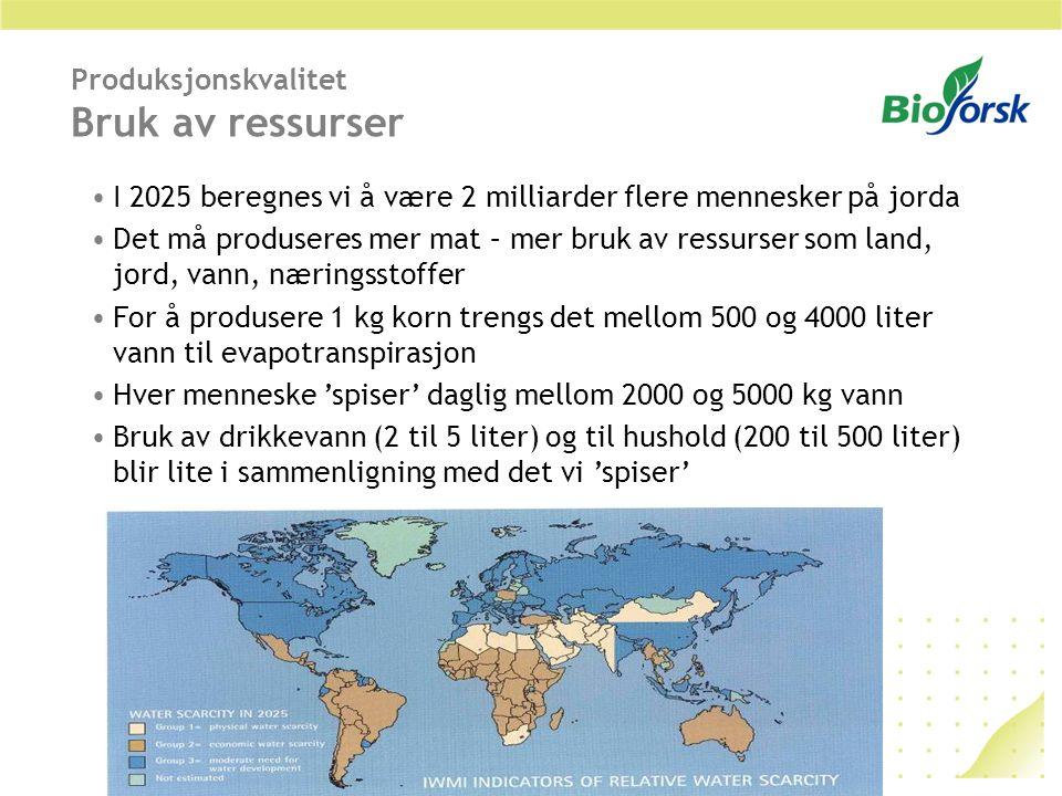Produksjonskvalitet Bruk av ressurser I 2025 beregnes vi å være 2 milliarder flere mennesker på jorda Det må produseres mer mat – mer bruk av ressurse