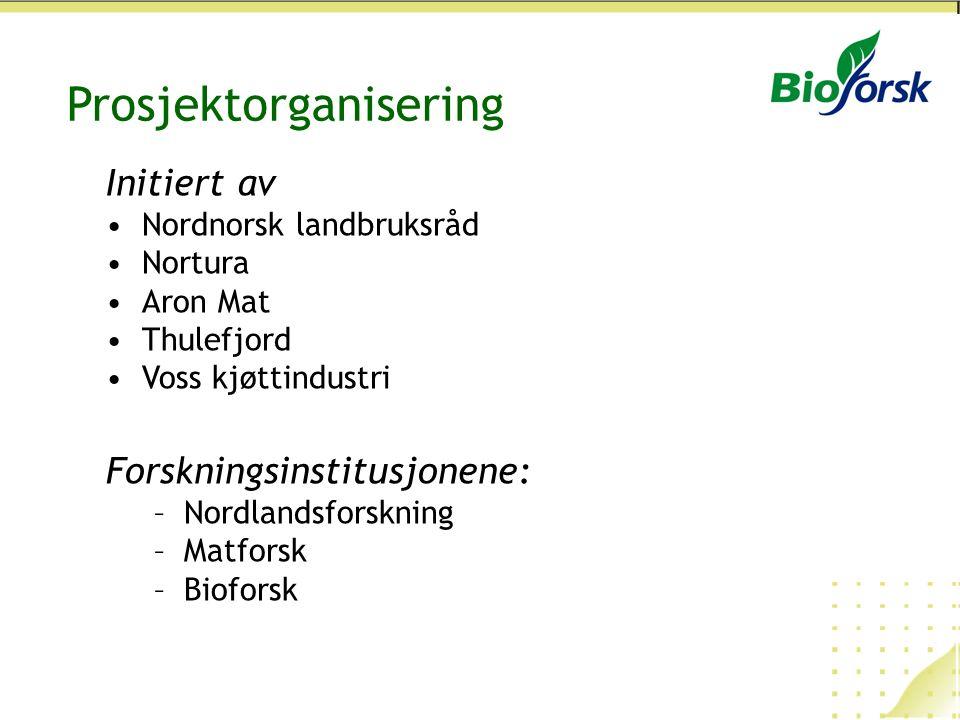 Prosjektorganisering Initiert av Nordnorsk landbruksråd Nortura Aron Mat Thulefjord Voss kjøttindustri Forskningsinstitusjonene: –Nordlandsforskning –