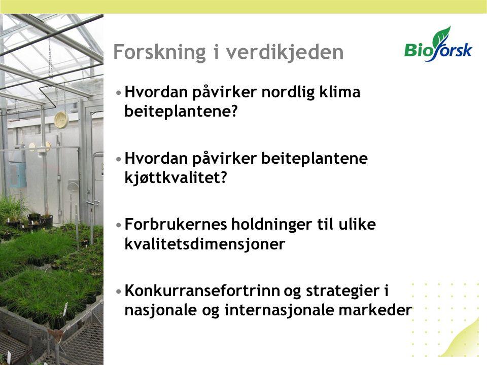 Forskning i verdikjeden Hvordan påvirker nordlig klima beiteplantene? Hvordan påvirker beiteplantene kjøttkvalitet? Forbrukernes holdninger til ulike