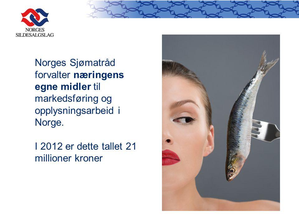 Norges Sjømatråd forvalter næringens egne midler til markedsføring og opplysningsarbeid i Norge. I 2012 er dette tallet 21 millioner kroner