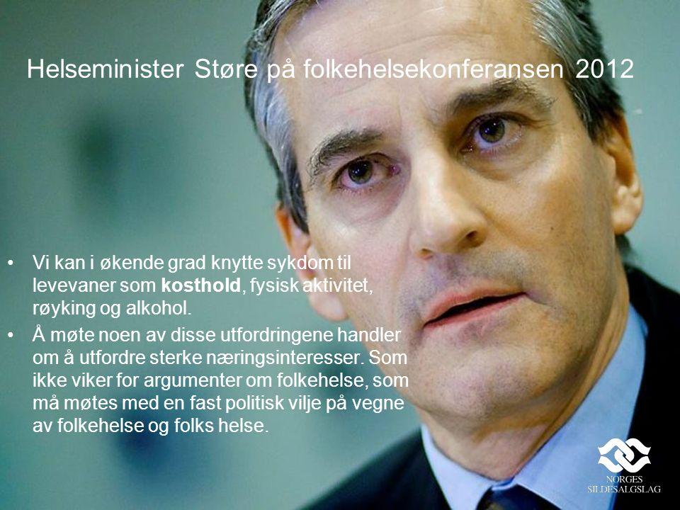 Helseminister Støre på folkehelsekonferansen 2012 Vi kan i økende grad knytte sykdom til levevaner som kosthold, fysisk aktivitet, røyking og alkohol.