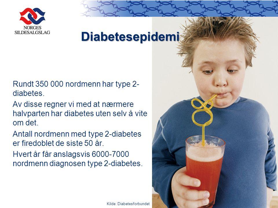 Rundt 350 000 nordmenn har type 2- diabetes. Av disse regner vi med at nærmere halvparten har diabetes uten selv å vite om det. Antall nordmenn med ty