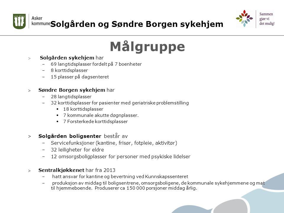 Solgården og Søndre Borgen sykehjem Målgruppe > Solgården sykehjem har –69 langtidsplasser fordelt på 7 boenheter –8 korttidsplasser –15 plasser på dagsenteret > Søndre Borgen sykehjem har –28 langtidsplasser –32 korttidsplasser for pasienter med geriatriske problemstilling 18 korttidsplasser 7 kommunale akutte døgnplasser.
