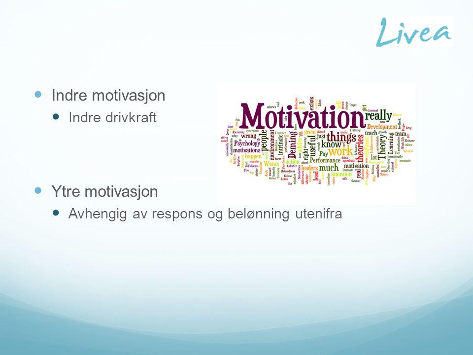 Indre motivasjon Indre drivkraft Ytre motivasjon Avhengig av respons og belønning utenifra