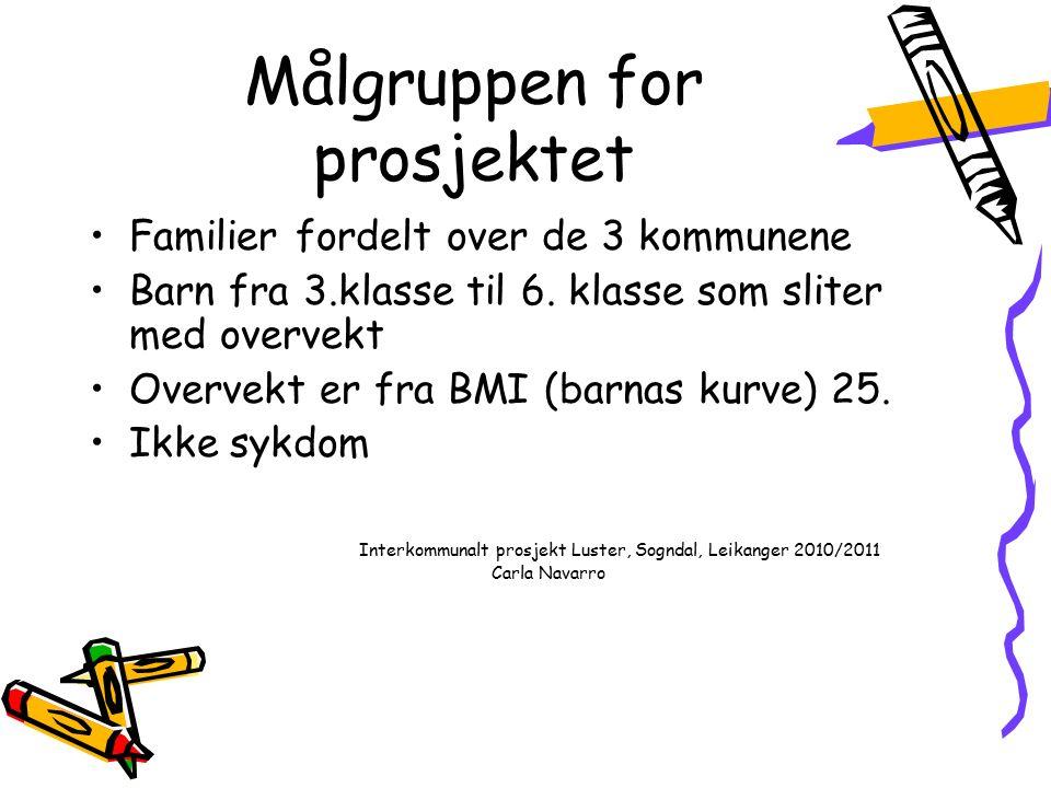 Målgruppen for prosjektet Familier fordelt over de 3 kommunene Barn fra 3.klasse til 6.
