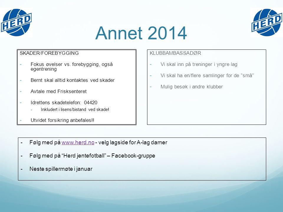 Annet 2014 SKADER/FOREBYGGING - Fokus øvelser vs.