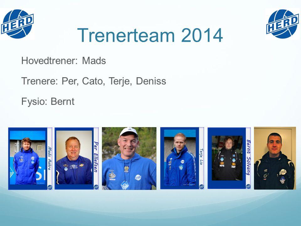 Trenerteam 2014 Hovedtrener: Mads Trenere: Per, Cato, Terje, Deniss Fysio: Bernt