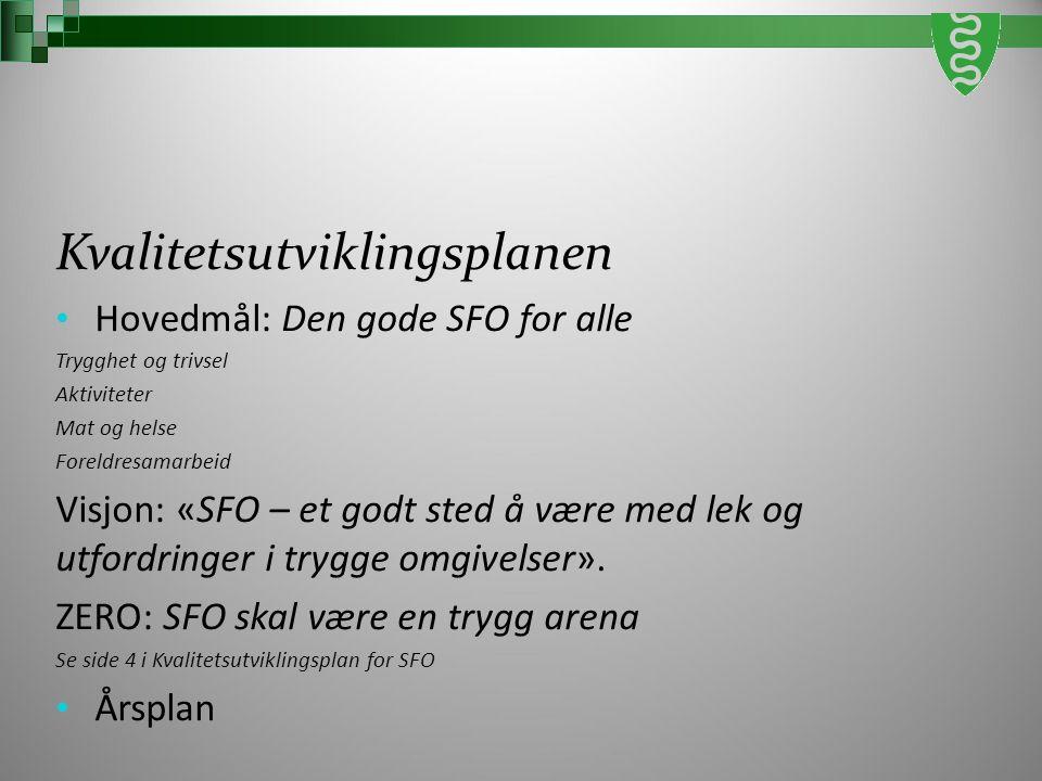 Kvalitetsutviklingsplanen Hovedmål: Den gode SFO for alle Trygghet og trivsel Aktiviteter Mat og helse Foreldresamarbeid Visjon: «SFO – et godt sted å