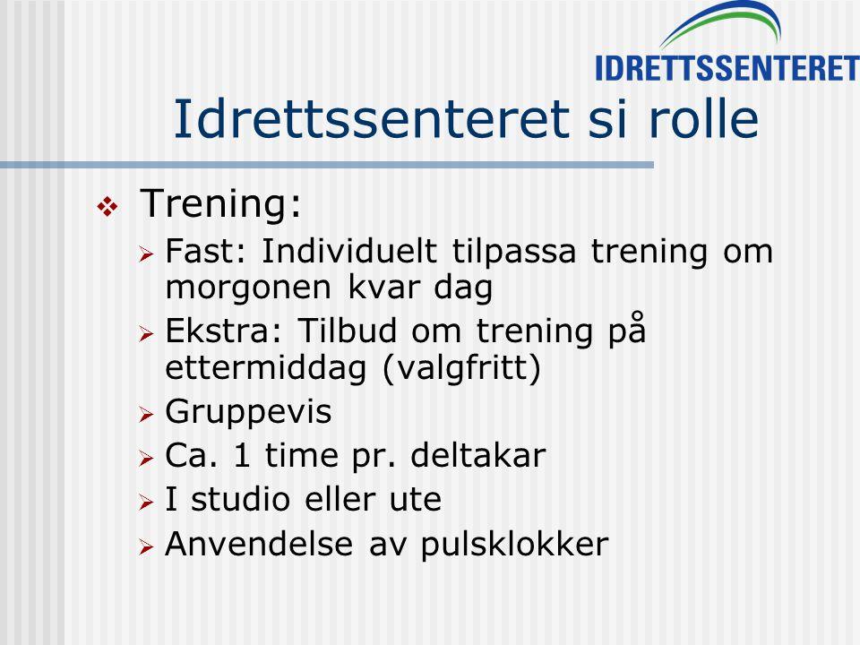 Idrettssenteret si rolle  Trening:  Fast: Individuelt tilpassa trening om morgonen kvar dag  Ekstra: Tilbud om trening på ettermiddag (valgfritt)  Gruppevis  Ca.