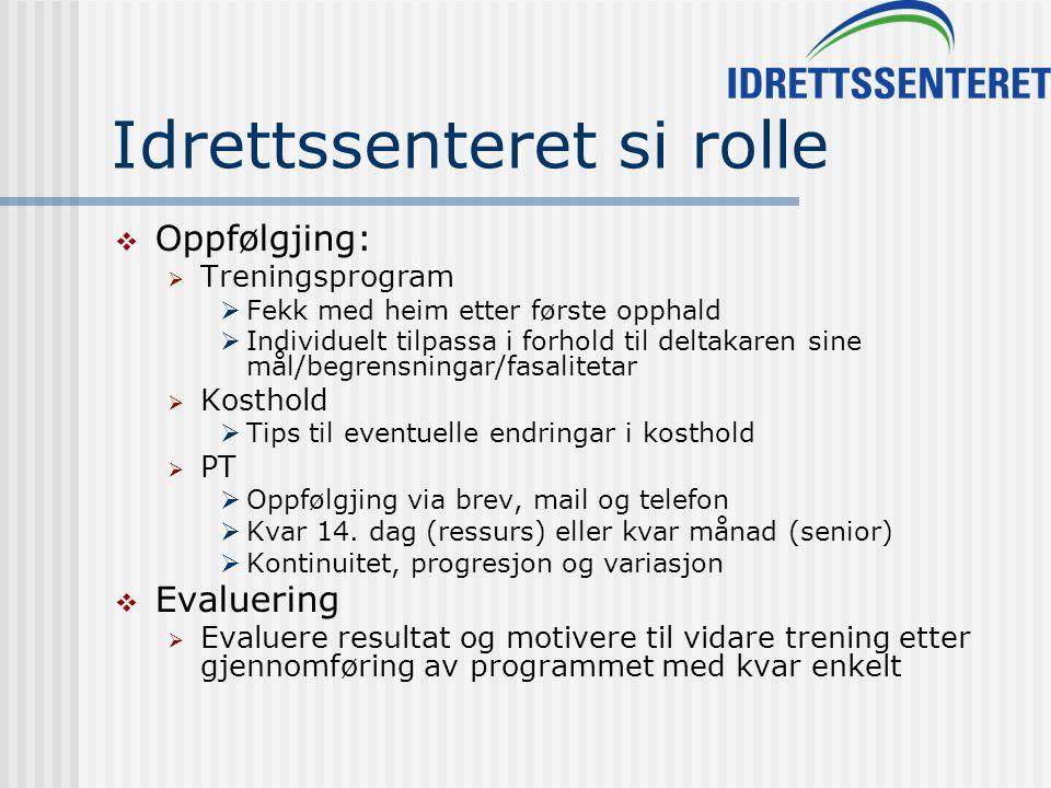 Idrettssenteret si rolle  Oppfølgjing:  Treningsprogram  Fekk med heim etter første opphald  Individuelt tilpassa i forhold til deltakaren sine må
