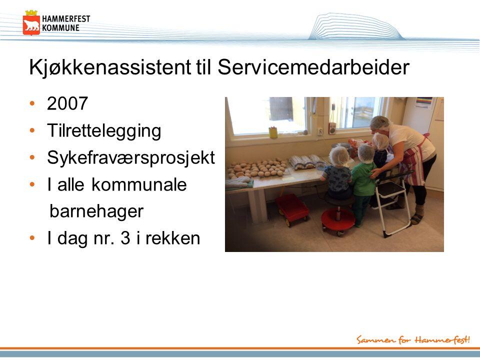 Kjøkkenassistent til Servicemedarbeider 2007 Tilrettelegging Sykefraværsprosjekt I alle kommunale barnehager I dag nr.