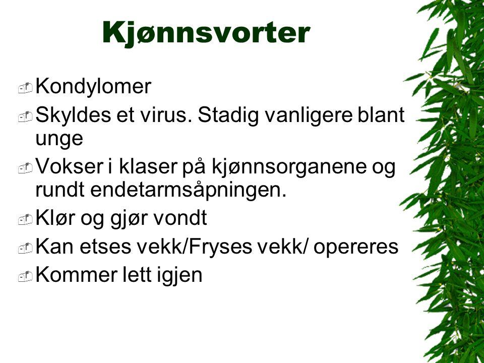 Kjønnsvorter  Kondylomer  Skyldes et virus.